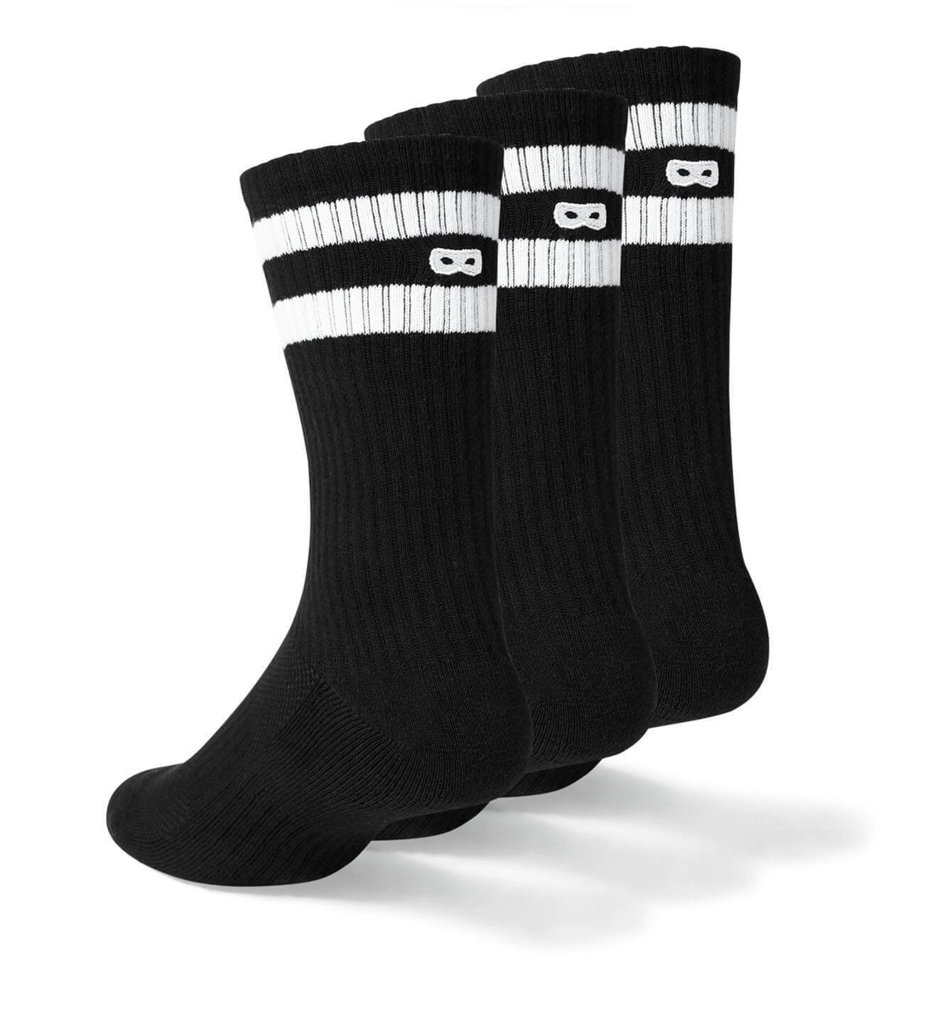 Blackout Striped Ribbed Women's Crew Socks 3 Pack