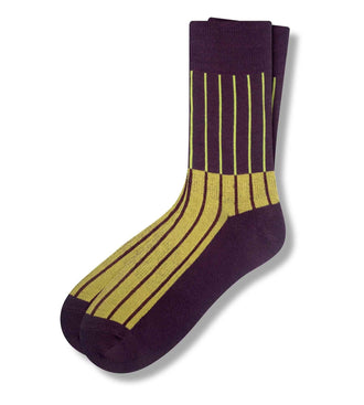 Plum Les Lignes D'Or Men's Crew Sock
