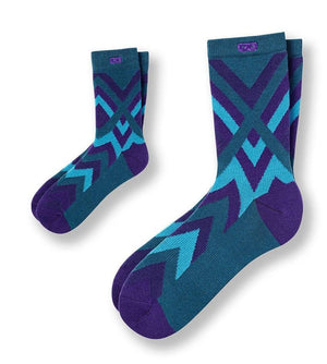 f17-blue-green-striped-womens-socks-mom-kid-front Ver2