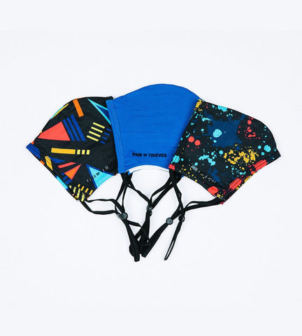 Blue/Black Reusable Masks 3 Pack