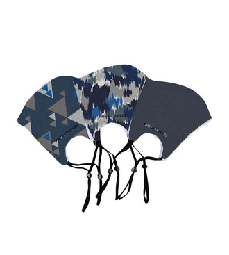 Blue/Grey Reusable Face Masks 3 Pack M/L