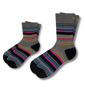 Twinsies matching crew socks for dad and kid. Grey with colorful stripes