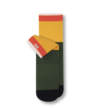 Orange, Yellow, and Green Color Blocked Downfield Cushion Ankle Sock In Tomato/Mustard