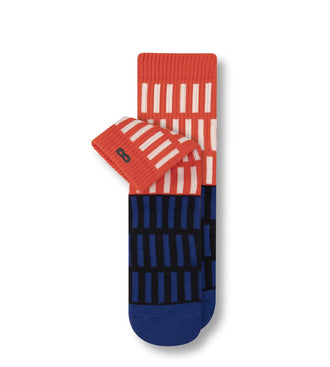 White on Red and Blue on Black Vertical Stripes Write-In Ticket Cushion Ankle Sock