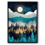 Mountain Forest In Moonlight Art Canvas Print