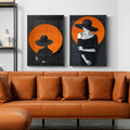 Woman In Black And Orange No2 Canvas Print