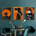 Woman In Black And Orange No1 Canvas Print