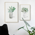 Green Plant In Grey Vase Canvas Print