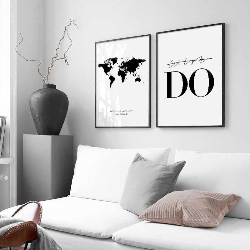 Black And White World Map Canvas Print Wall Poster