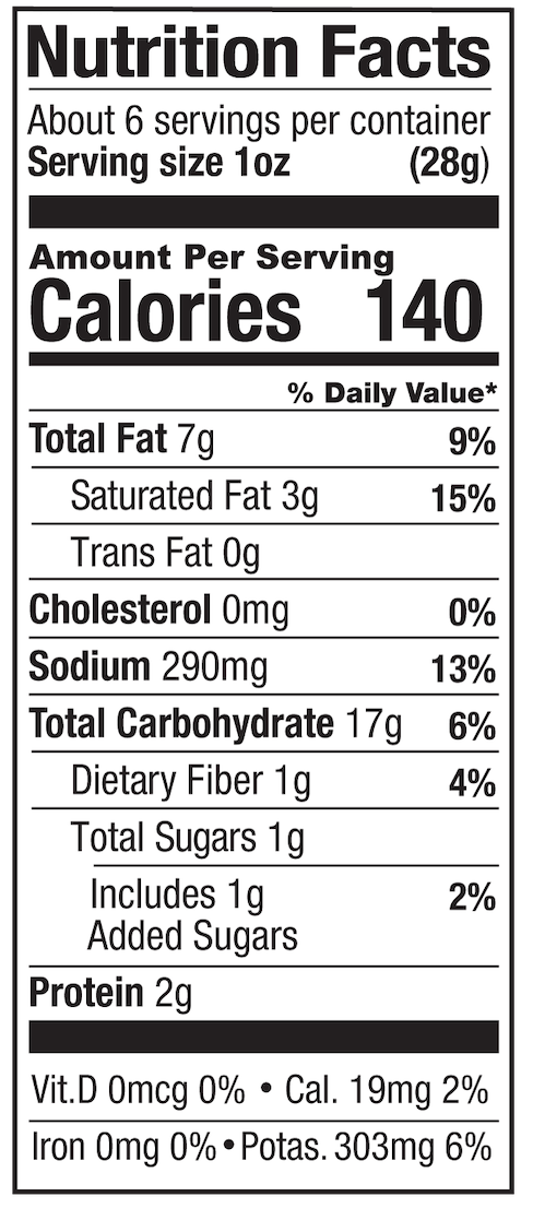 Aged White Cheddar Nutrition Label