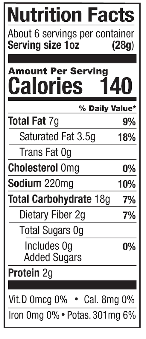 Sour Cream & Onion Nutrition Label