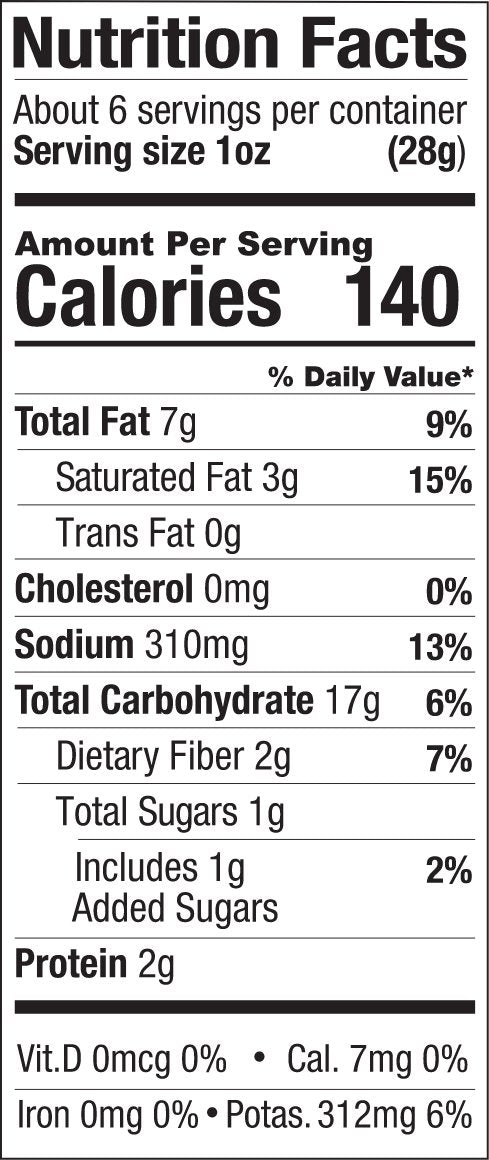 Outback BBQ Nutrition Label