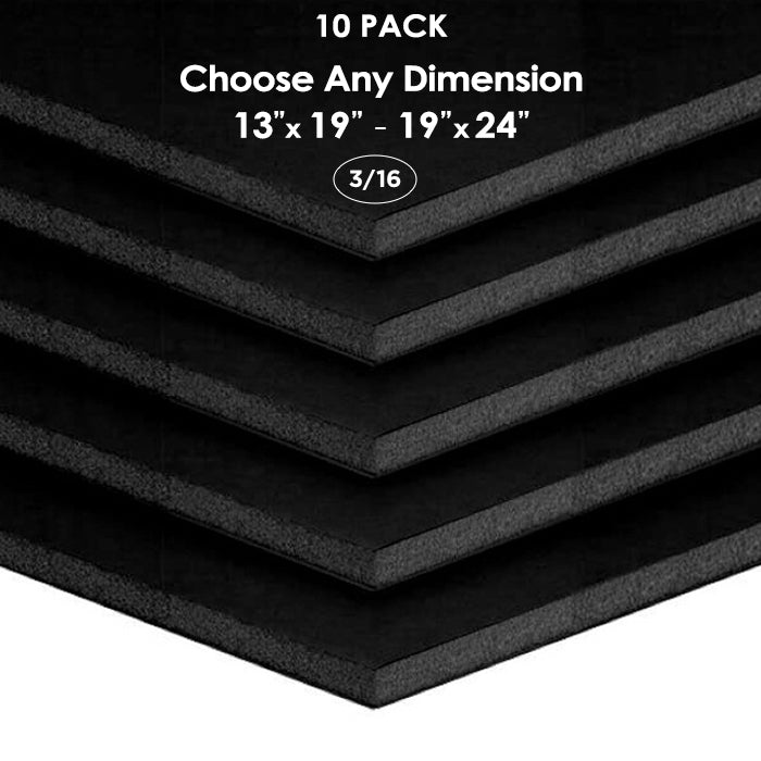 "3/16"" Black Foam Board Custom Cut 10 Packs"