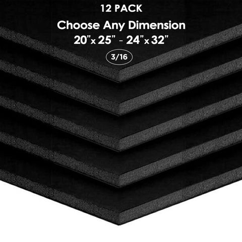 "3/16"" Black Foam Board Custom Cut 12 Packs"
