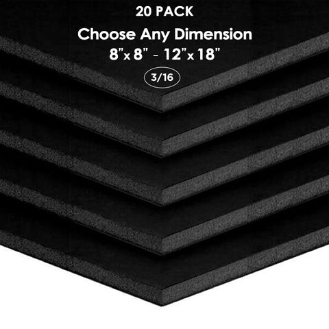 "3/16"" Black Foam Board Custom Cut 20 Packs"