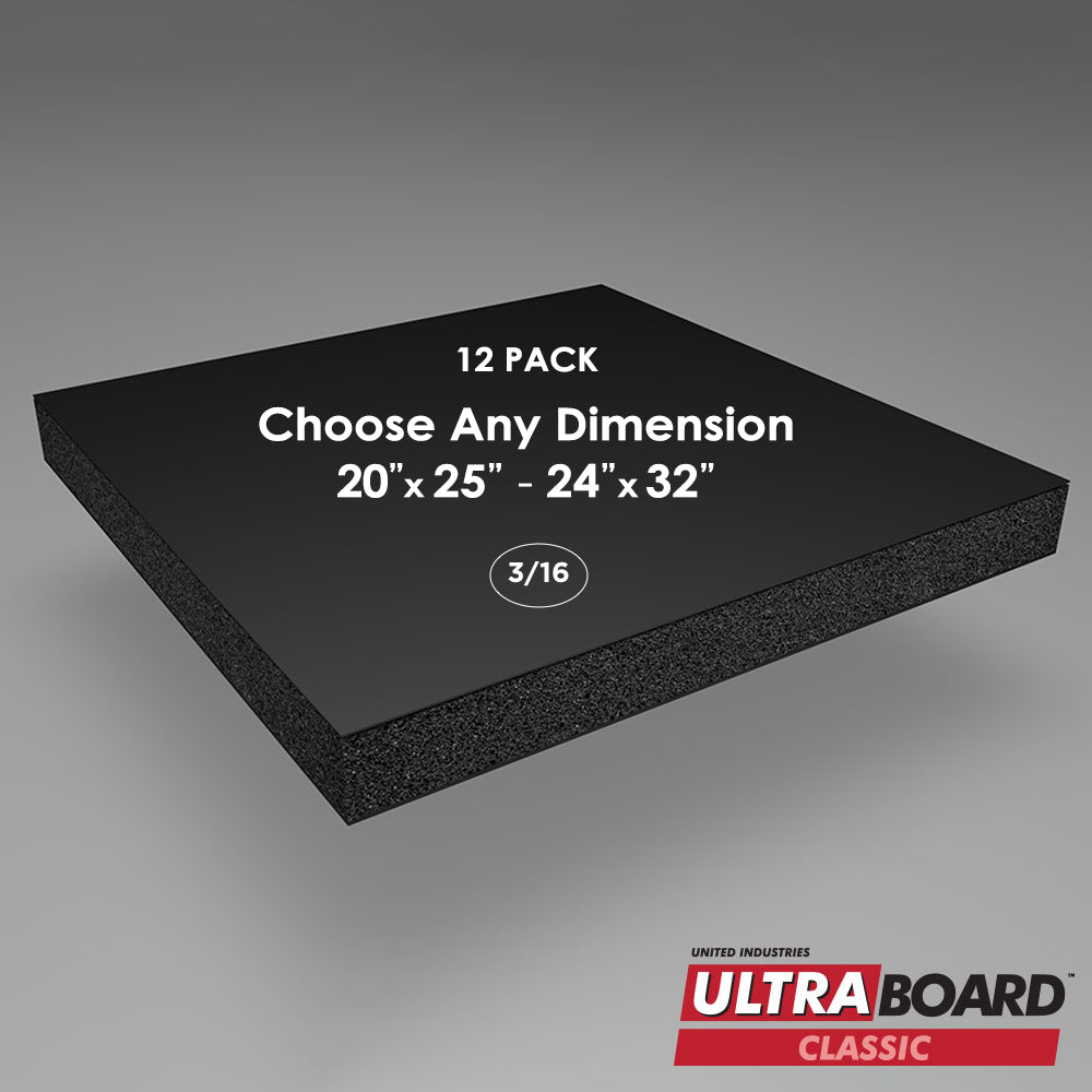 "3/16"" Black UltraBoard Custom Cut 12 Packs"