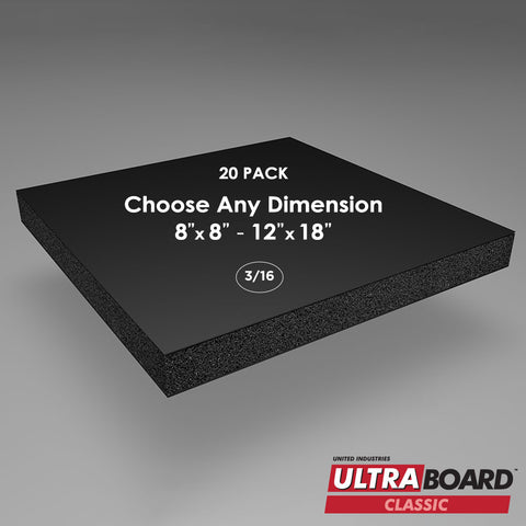 "3/16"" Black UltraBoard Custom Cut 20 Packs"