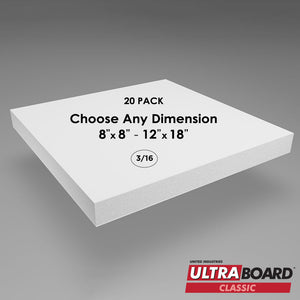 "3/16"" White UltraBoard Custom Cut 20 Packs"