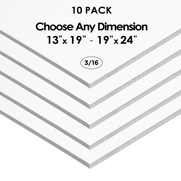 "3/16"" White Foam Board Custom Cut 10 Packs"