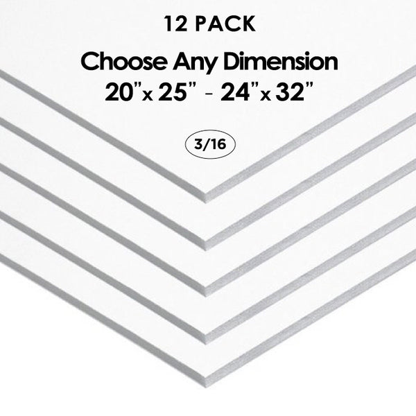 "3/16"" White Foam Board Custom Cut 12 Packs"