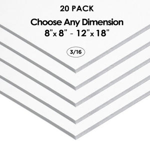 "3/16"" White Foam Board Custom Cut 20 Packs"