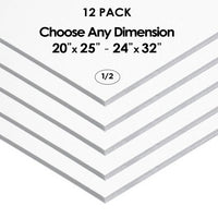 "1/2"" White Foam Board Custom Cut 12 Packs"