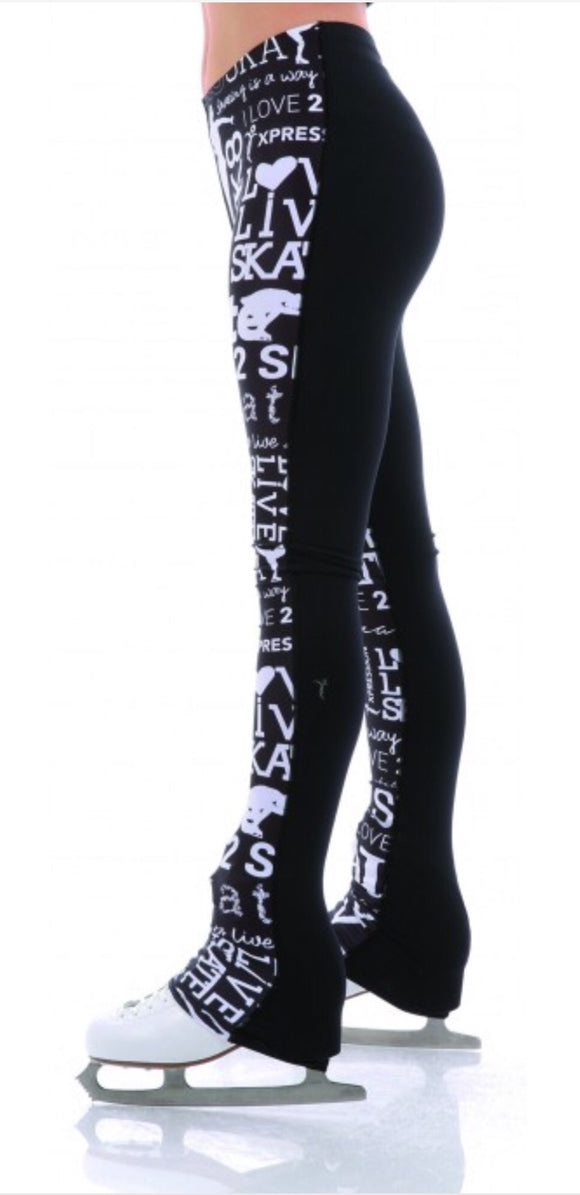 Xpression Skate Legging Half & Half Black