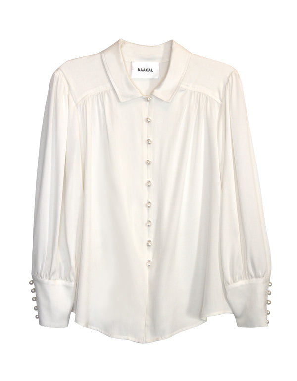No*55 Lamar Pearl Button Silk Blouse