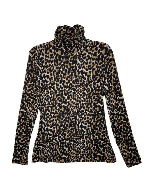 Rib Knit Cheetah Turtleneck Long Sleeve