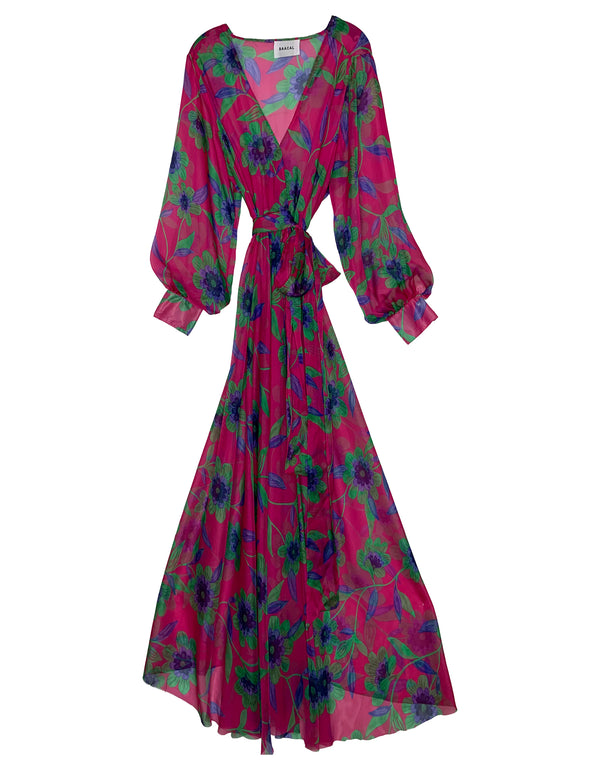 Maxi Wrap Dress No*38 Fuchsia Floral Silk Chiffon