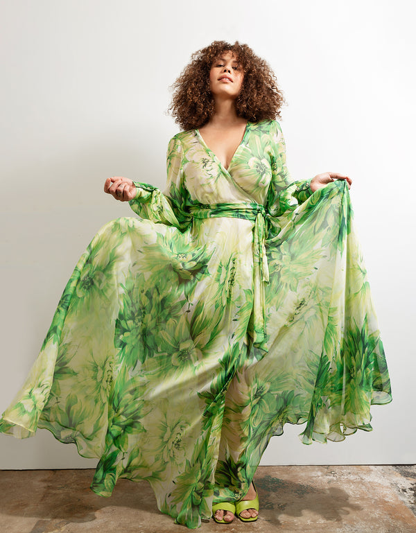 Maxi Wrap Dress No*27 Green Superbloom Silk Chiffon