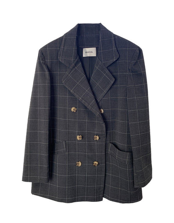 Short Carnaby Plaid Lightweight Double Breasted Car Coat No*65