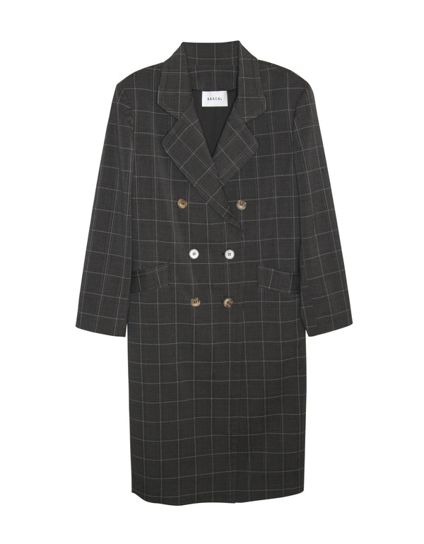 Carnaby Plaid Lightweight Double Breasted Car Coat No*65