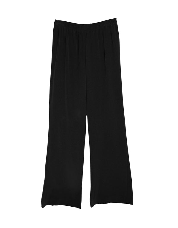 women's plus size pant wide leg elastic waist black