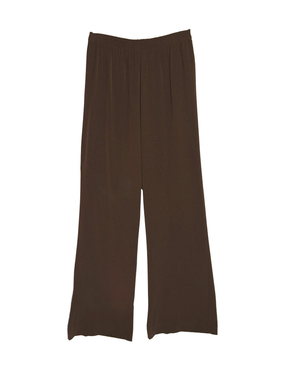 women's pant wide leg elastic waist brown