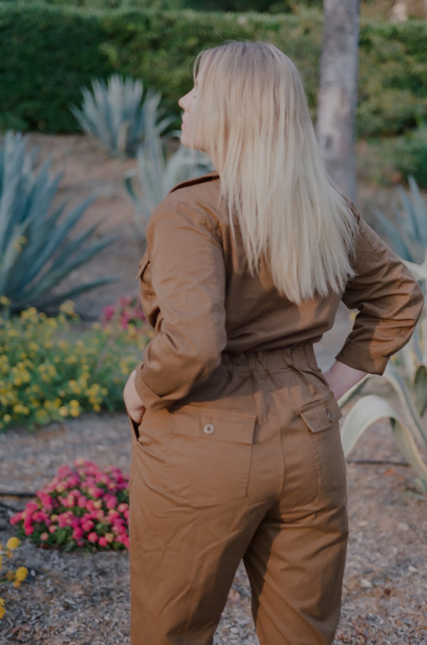 women's plus size brown utility jumpsuit