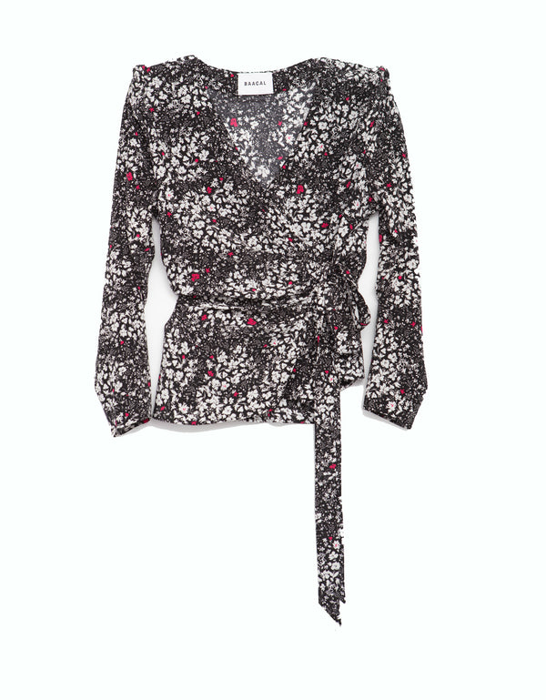 Portman Wrap Tie Top - Composition Floral