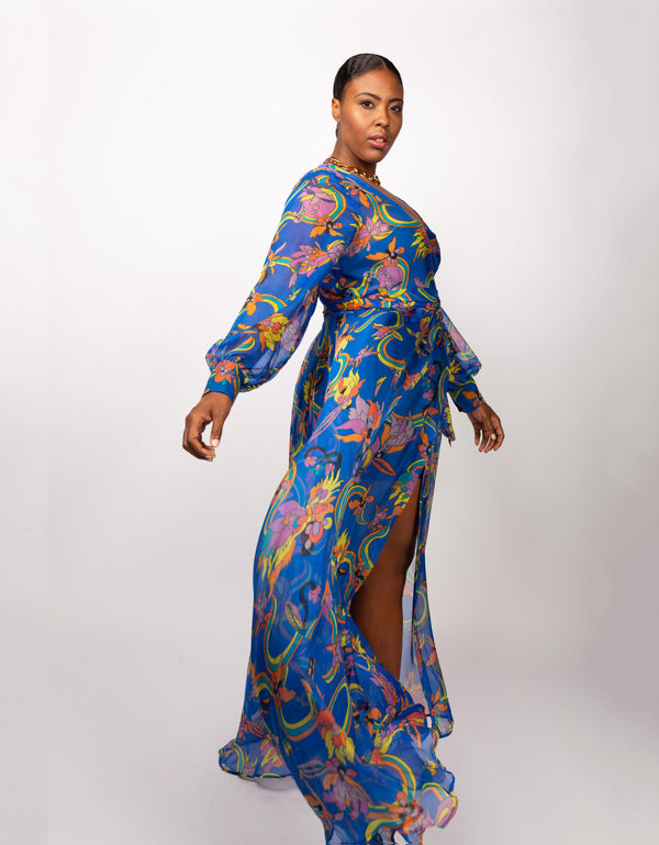 Maxi Wrap Dress Rainbow Floral Silk Chiffon