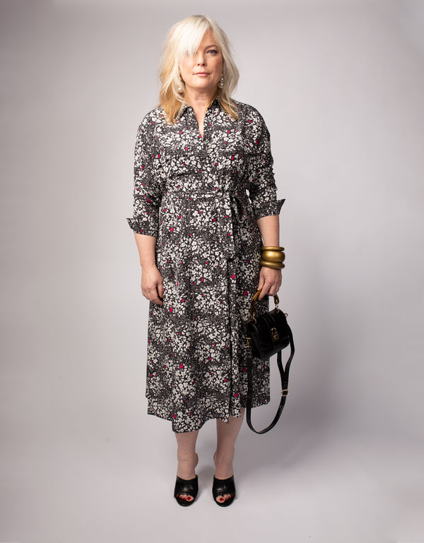Waisted Shirt Dress W/ Belt Composition Floral