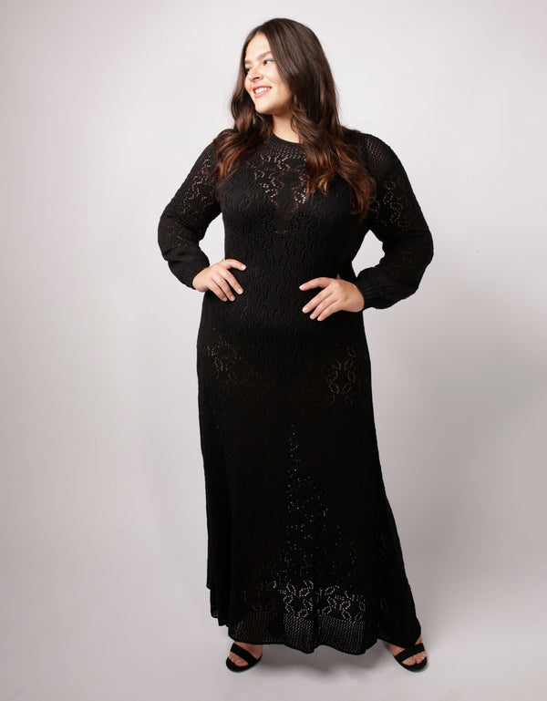 Loren Crochet Maxi Dress Black