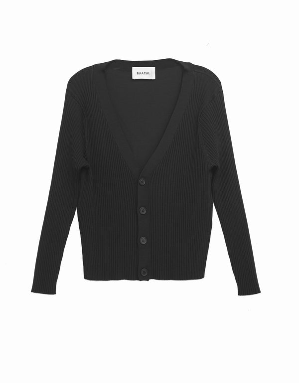 V- Neck Cardigan- Black