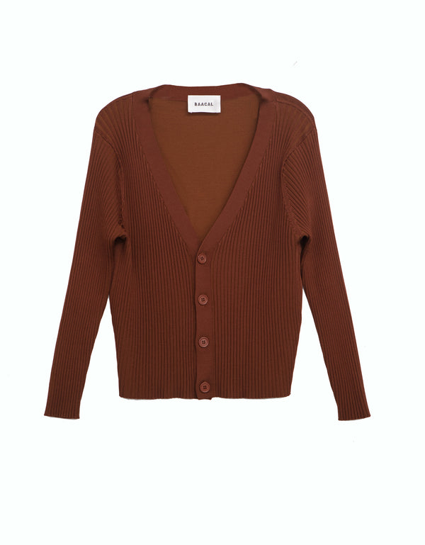 V- Neck Cardigan- Coffee Brown