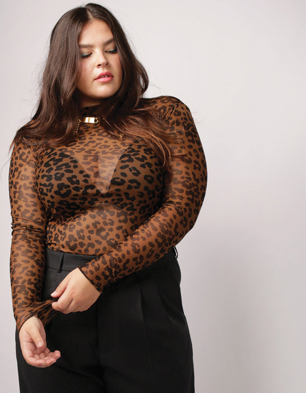 Mesh Knit City Leopard Mock Neck Long Sleeve No *66