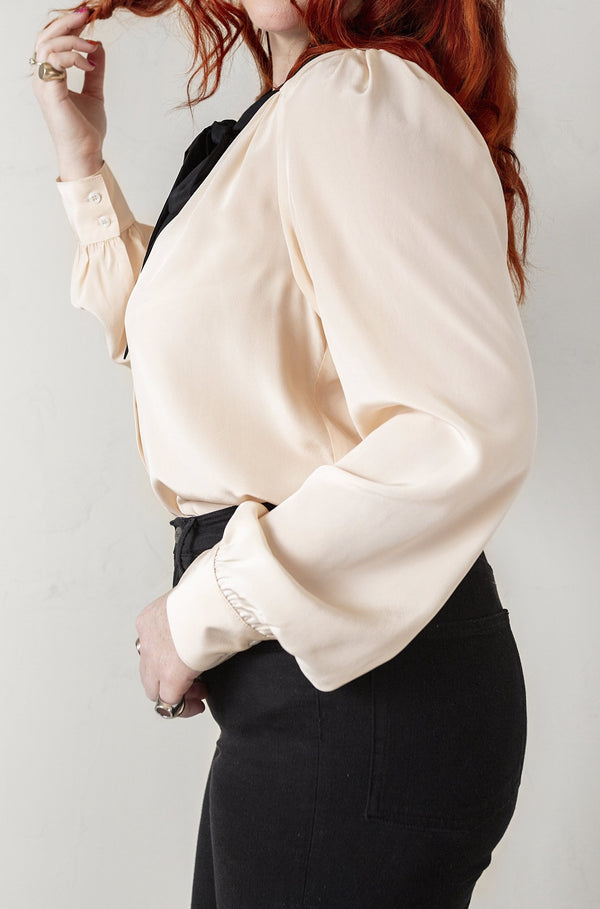 No*9 Button Down Tie Front Blouse