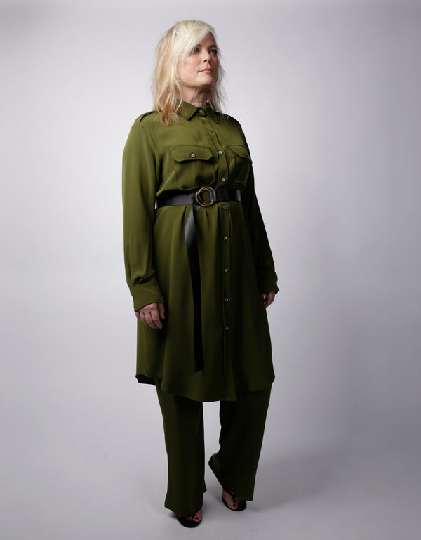Epaulette Shirtdress- Cilantro