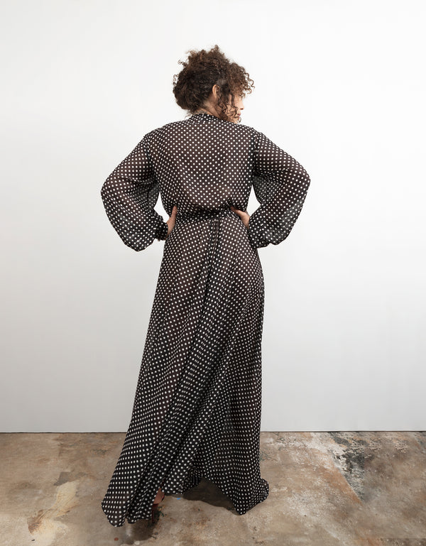 Maxi Wrap Dress No*33 Black White Polka Dot Poly Georgette