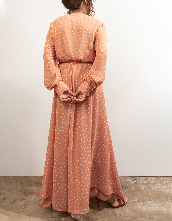 Maxi Wrap Dress No*32 Peach Dot Poly Georgette