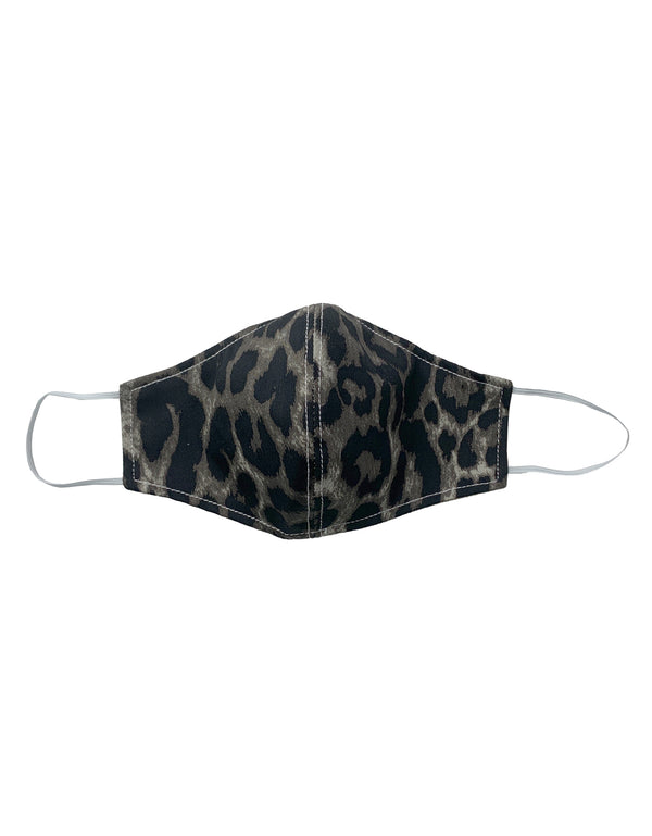 cloth mask grey leopard print one size