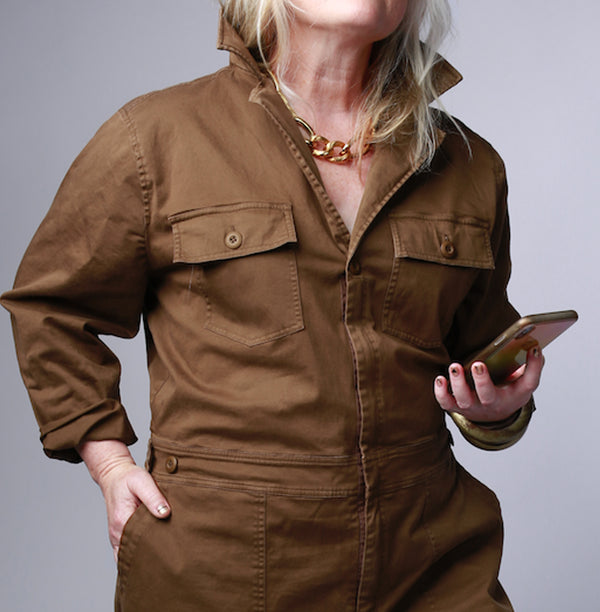 women's plus size brown utility jumpsuit front top
