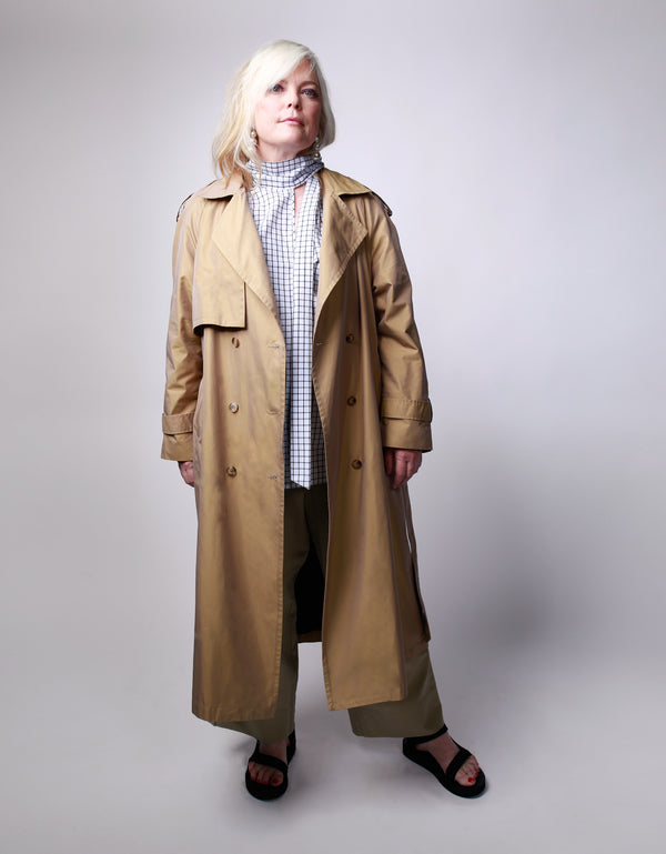 women's plus size double breasted trench coat with belt